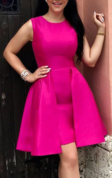 MACloth O Neck Fuchsia Mini Prom Homecoming Dress Elegant Wedding Party Formal Gown