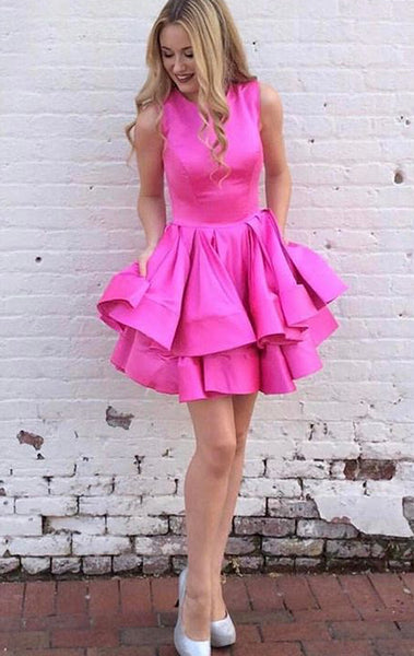 MACloth O Neck Tiered Fuchsia Mini Prom Homecoming Dress Wedding Party Formal Gown