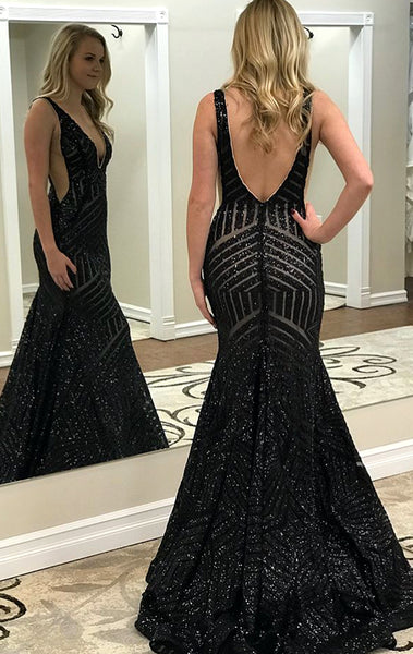 MACloth Illusion Mermaid Deep V Neck Sequin Prom Dress Sequin Black Formal Gown