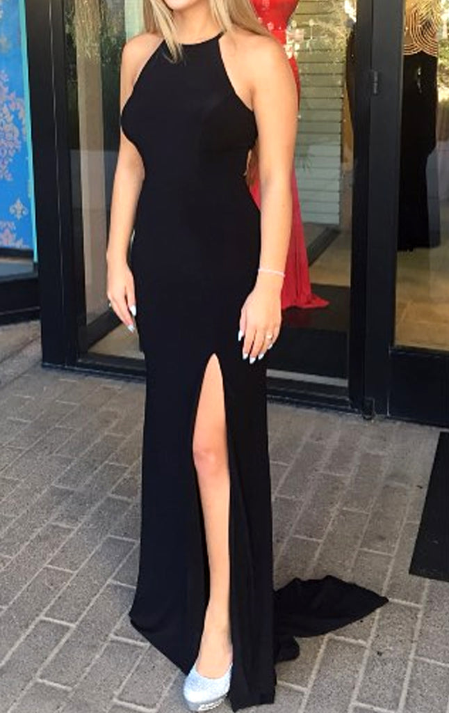 MACloth Halter Mermaid Black Prom Dress Jersey Formal Evening Gown