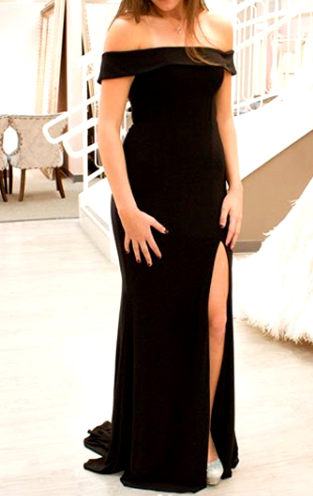 MACloth Off the Shoulder Long Prom Dress Black Jersey Formal Evening Gown