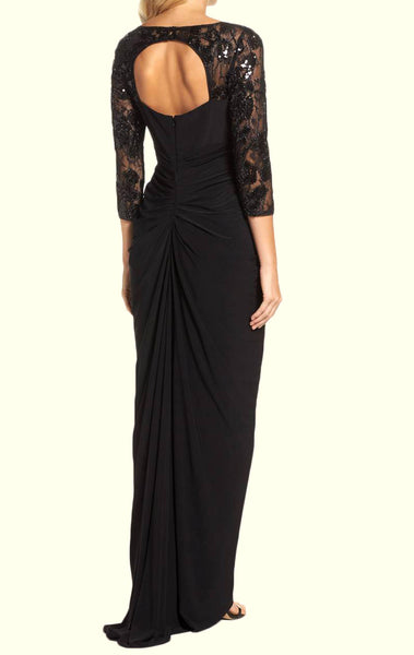 MACloth 3/4 Sleeves Black Mother of the Brides Dress Jersey Formal Evening Gown