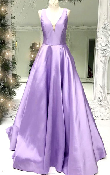 MACloth Illusion V Neck Satin Long Prom Dress Sky Blue Formal Evening Gown