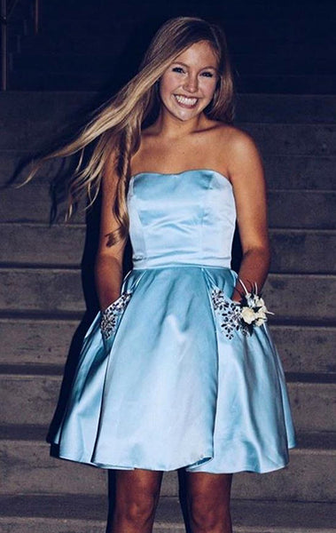 MACloth Strapless Sweetheart Mini Prom Homeocming Dress Sky Blue Wedding Party Dress