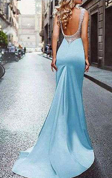 MACloth Mermaid Scoop Neck Sky Blue Long Prom Dress Formal Evening Gown