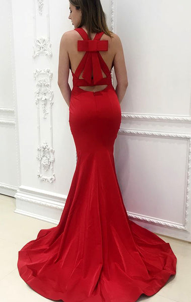 MACloth Mermaid V Neck Long Prom Dress Jersey Red Formal Evening Gown