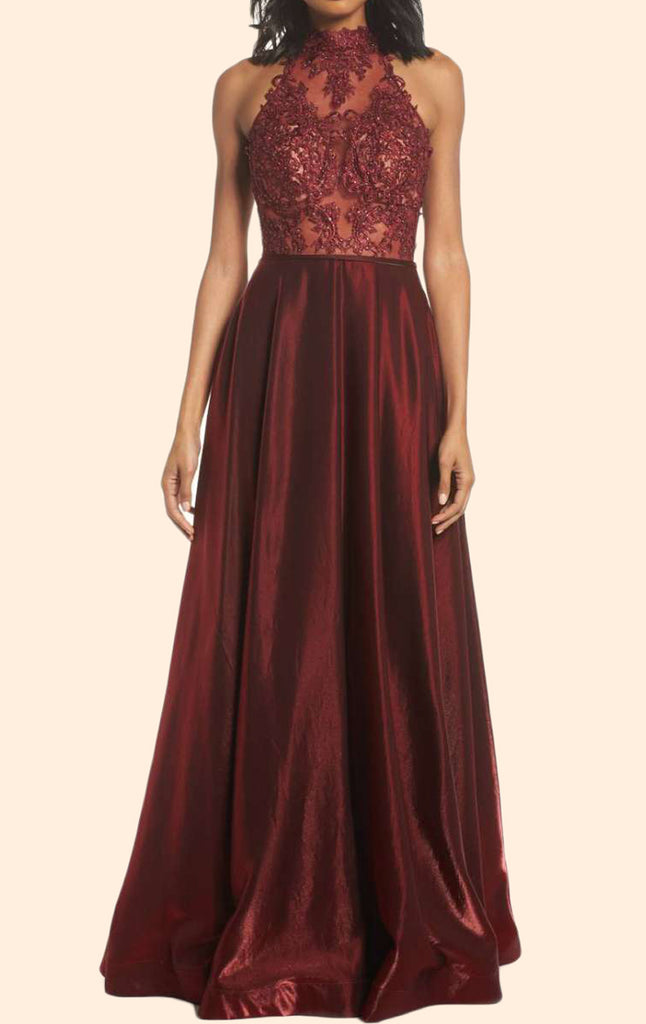MACloth Halter High Neck Lace Long Prom Dress Burgundy Formal Evening Gown