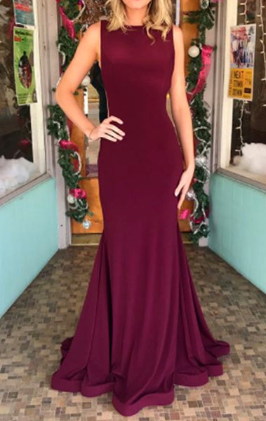 MACloth Mermaid Illusion Jersey Long Prom Dress Burgundy Formal Gown