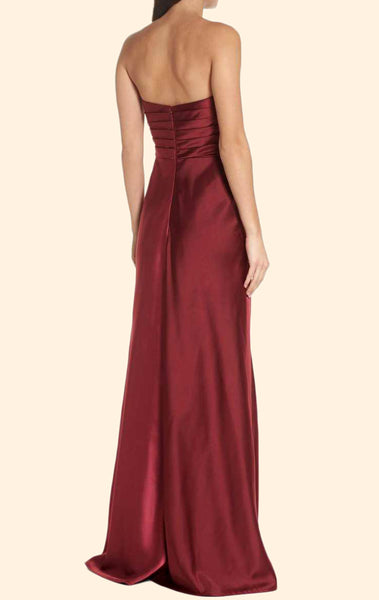 MACloth Strapless Sweetheart Long Prom Dress Burgundy Formal Evening Gown 10607