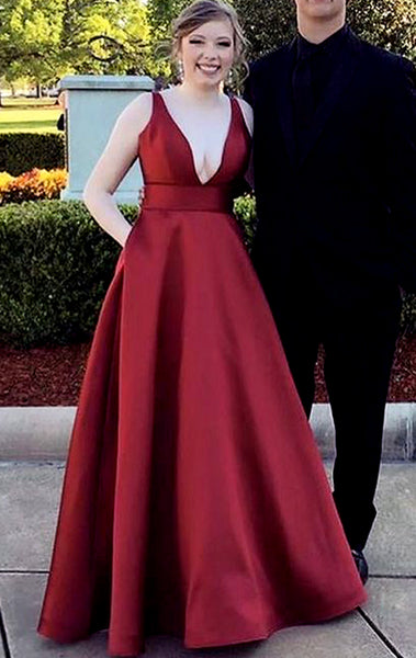MACloth Deep V Neck Long Prom Dress Burgundy Formal Evening Gown