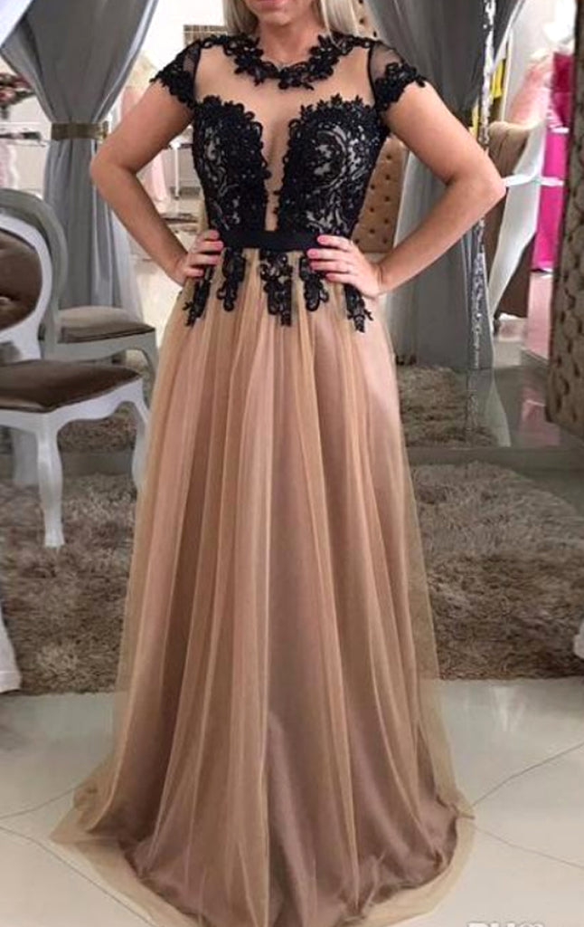 MACloth Cap Sleeves Lace Tulle Long Prom Dress Champagne Black Formal Evening Gown