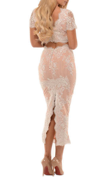 MACLoth Sheath Short Sleeves Lace Cocktail Dress Tea Length Prom Formal Gown