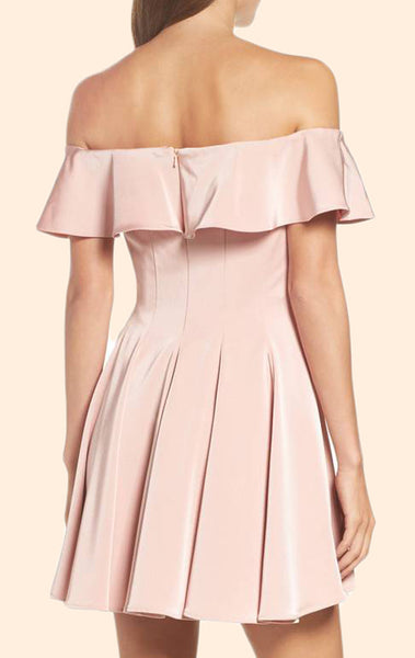 MACloth Off the Shoulder Pink Short Prom Homecoming Dress Pink Wedding Party Dress