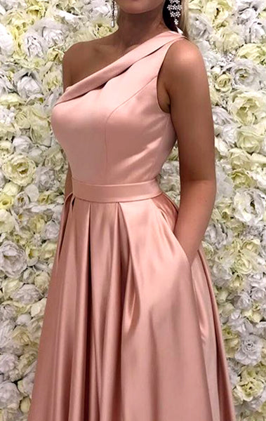 MACloth One Shoulder Long Satin Prom Dress Pink Formal Evening Gown