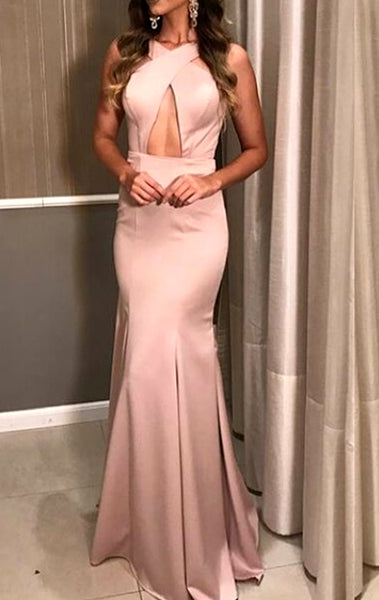 MACloth Mermaid Halter Long Prom Dress Pink Formal Evening Gown