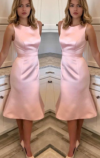 MACLoth O Neck Sheath Midi Wedding Party Dress Pink Prom Homecoming Dress 10615