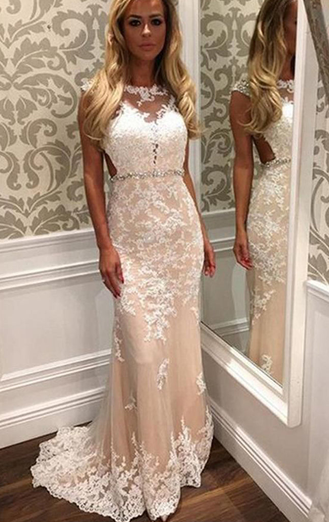 MACloth Cap Sleeves Lace Long Prom Dress Ivory Formal Evening Gown