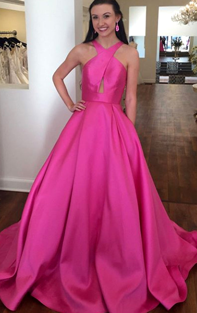 MACloth Halter Open Back Fuchsia Long Prom Dress Satin Formal Evening Gown