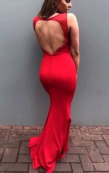 MACloth Mermaid O Neck Red Long Prom Dress with Open Back Jersey Formal Evening Gown 10621
