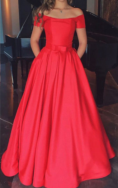 MACloth Off the Shoulder Red Long Prom Dress Satin Formal Evening Gown