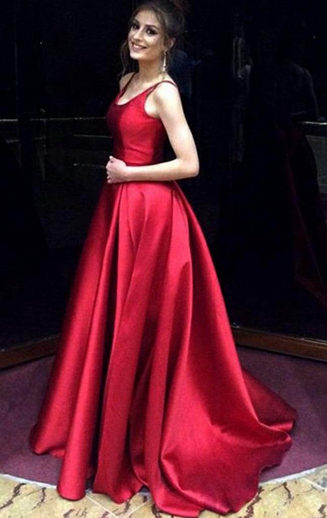 MACloth Scoop Neck Ball Gown Long Burgundy Prom Dress Satin Formal Eve