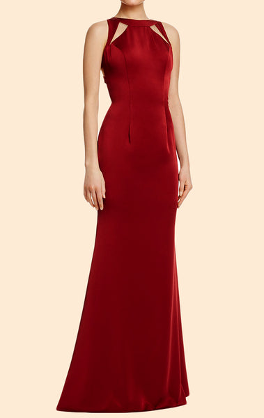 MACloth Sheath O Neck Burgundy Long Prom Dress Satin Formal Evening Gown