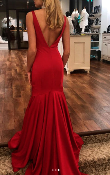 MACloth Mermaid V Neck Jersey Long Prom Dress Red Formal Evening Gown 10625