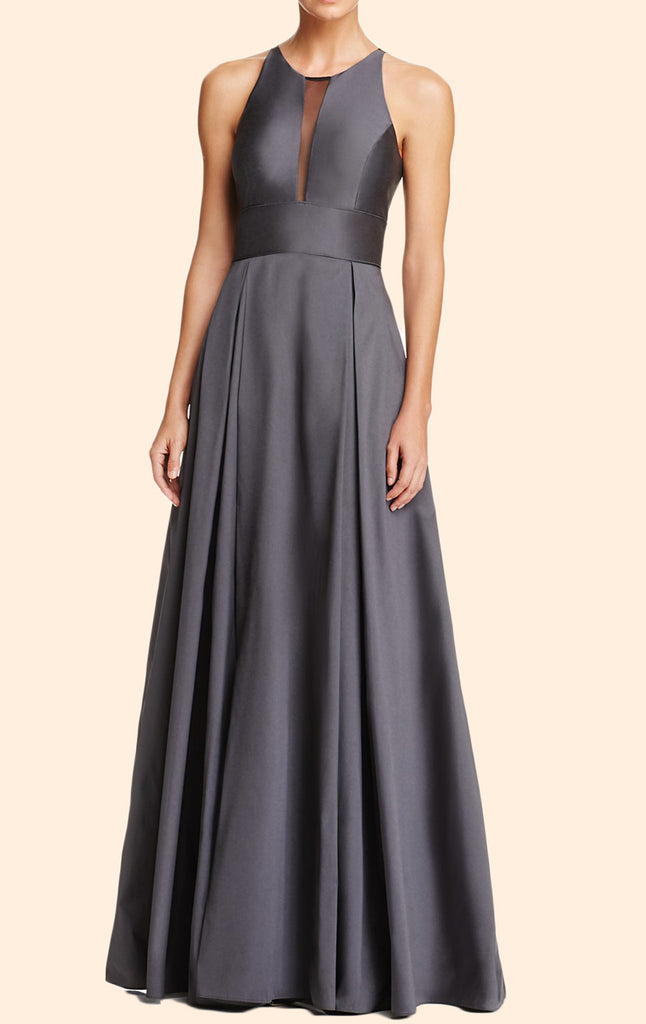 MACloth O Neck Chiffon Gray Long Prom Dress Simple Formal Evening Gown
