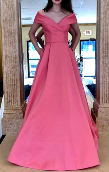 MACloth Off the Shoulder Pink Long Prom Dress Simple Formal Evening Gown 10627