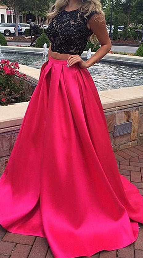 MACloth Cap Sleeves 2 Piece Fuchsia Long Prom Dress Gorgeous Formal Evening Gown