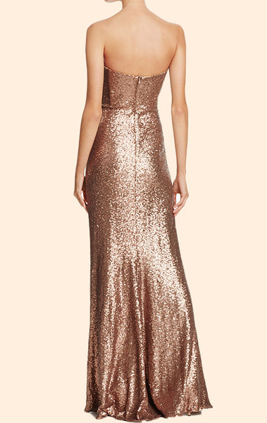 MACloth Strapless Long Sequin Gold Formal Evening Gown Simple Prom Dress