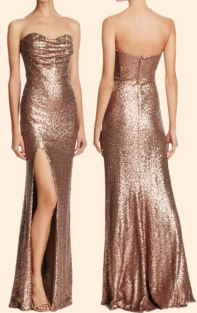 Simple Gold Prom Dresses