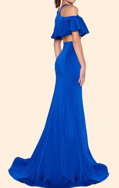 MACloth Halter Off the Shoulder Mermaid Long Prom Dress Royal Blue Formal Evening Gown 10633