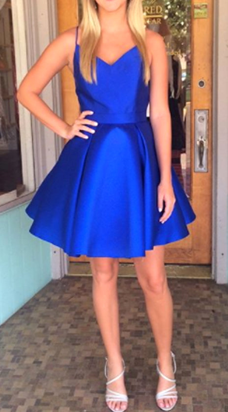 MACloth Straps V Neck Mini Prom Homecoming Dress Royal Blue Wedding Party Dress