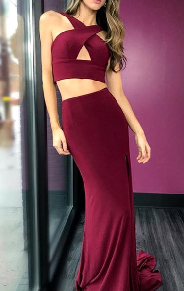MACloth Halter two Piece Mermaid Long Prom Dress Burgundy Formal Evening Gown
