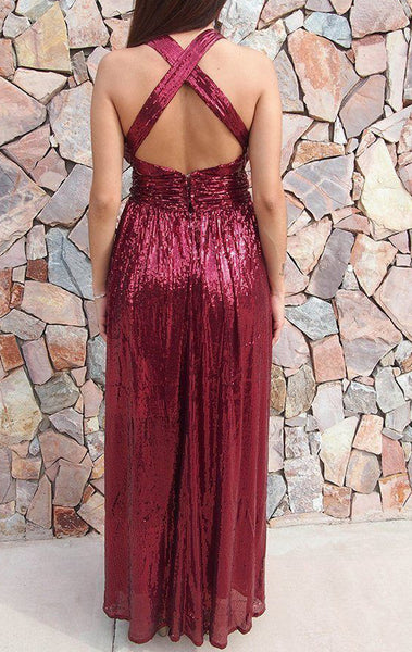 MACloth Deep V neck Sequin Long Prom Dress Burgundy Formal Evening Gown