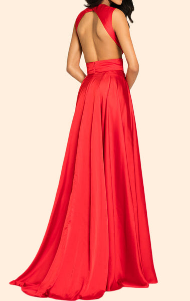 MACloth O Neck Satin Chiffon Long Prom Dress Red Formal Evening Gown