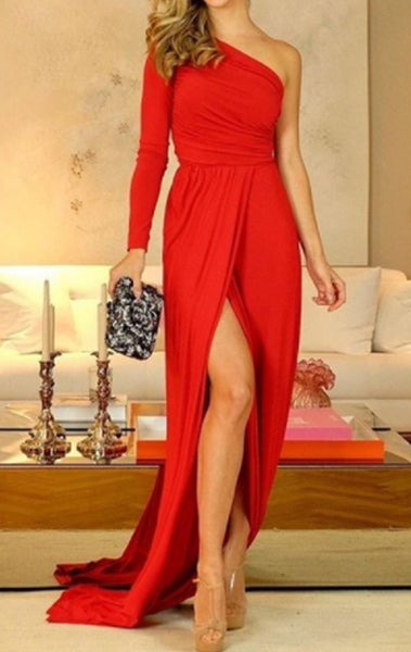 MACloth One Shoulder Long Sleeves Jersey Long Prom Dress Red Formal Evening Gown