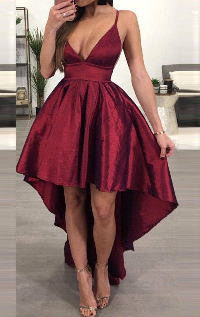 MACloth Straps Deep V Neck High Low Prom Dress Burgundy Sexy Formal Evening Gown