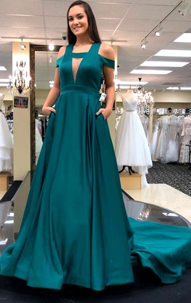 MACloth Off the Shoulder Teal Long Prom Dress Elegant Formal Evening Gown