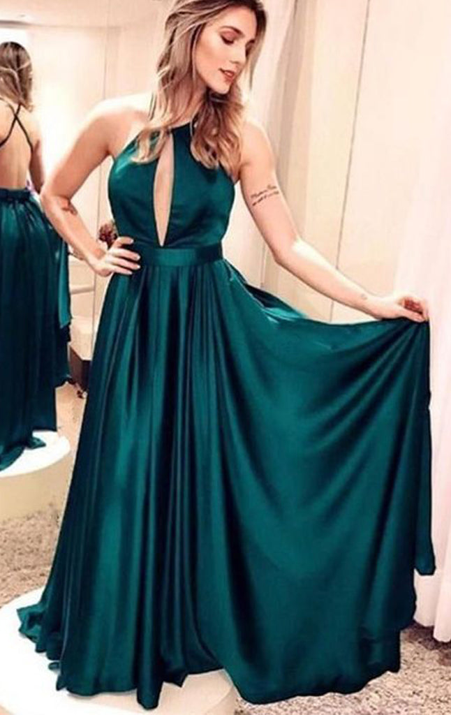 MACloth Halter Sexy Teal Long Prom Dress Satin Chiffon Formal Evening Gown