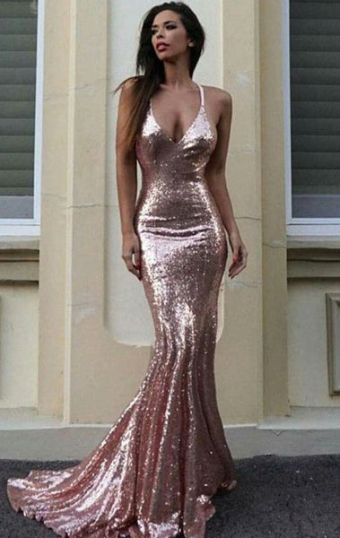MACloth Mermaid Straps V Neck Sequin Long Prom Dress Pink Formal Evening Gown