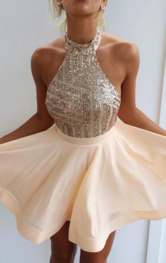 MACloth Halter Sequin Rose Gold Prom Homecoming Dress Mini Wedding Party Dress