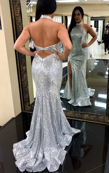 MACloth Halter Mermaid Sequin Prom Dress Silver Formal Evening Gown