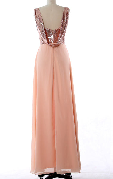 MACloth Straps Sequin Chiffon Long Bridesmaid Dress Simple Prom Gown
