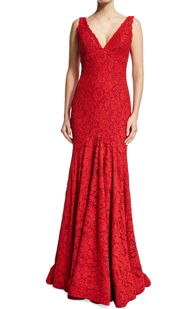 MACloth Mermaid Straps V Neck Lace Red Evening Gown Prom Dress