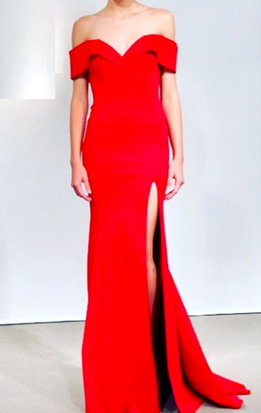 MACloth Off the Shoulder Mermaid Red Prom Dress Elegant Formal Evening Gown