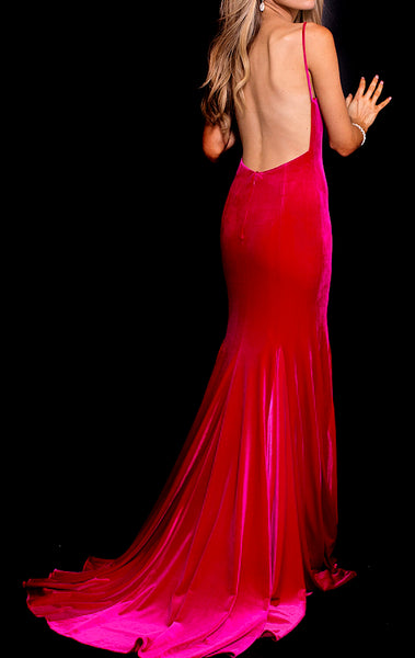 MACloth Mermaid V Neck Velvet Long Prom Dress Fuchsia Formal Evening Gown