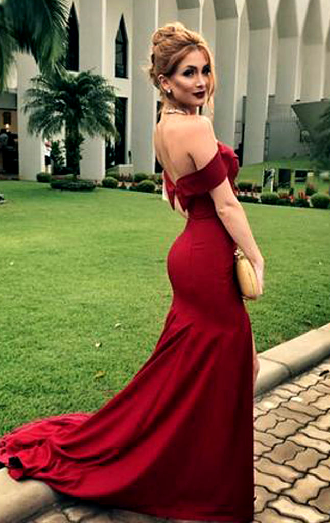 MACloth Mermaid Off the Shoulder Burgundy Long Prom Dress Jersey Formal  Evening Gown