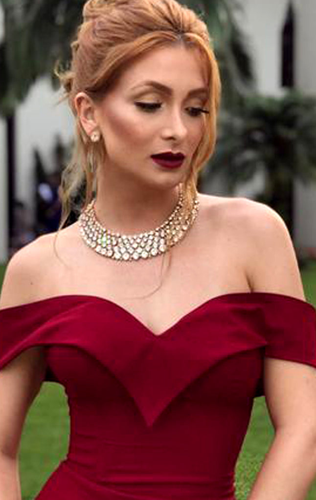 0b6cc37fed ... MACloth Mermaid Off the Shoulder Burgundy Long Prom Dress Jersey Formal  Evening Gown ...